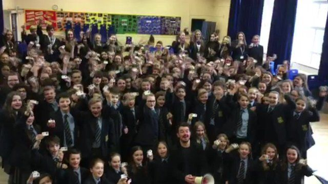 Students from Taporley High School with Chris Warburton