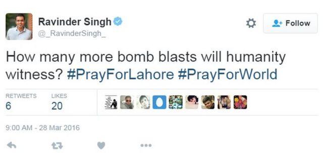ラビンダー・シンさんは「人類はあといくつ爆弾攻撃を目にするんだ?」とツイート