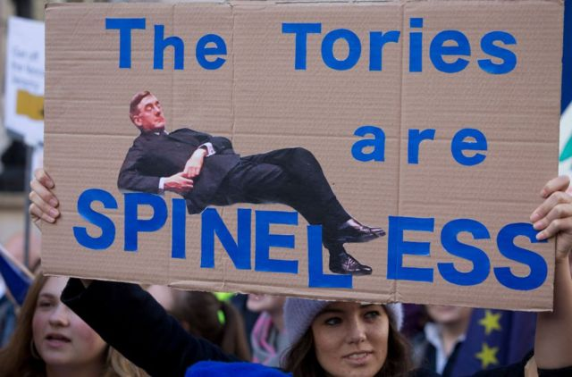 """A protester holds a sign with a picture of Jacob Rees-Mogg calling the Tories """"spineless"""""""