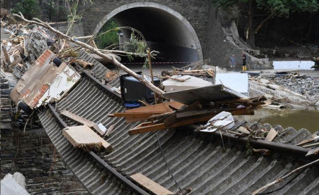 Wrecked railway line in Altenahr, 19 Jul 21