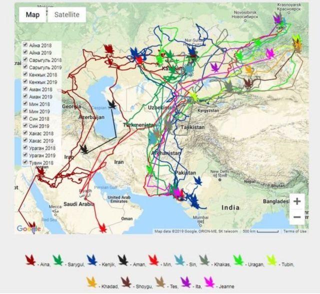 له مرکزي اسیا تر سویلي اسیا پورې د بازانو سفر کولو لارې نقشه ( RRRCN ویبپاڼه)