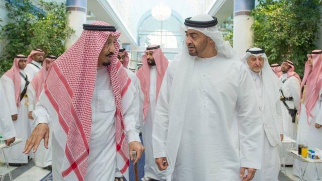 محمد بن زايد والملك سلمان وخلفهما محمد بن سلمان