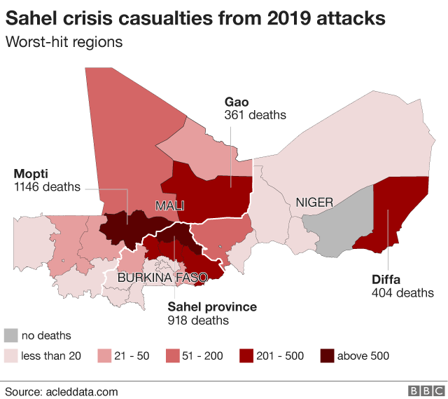 Map showing most deadly region