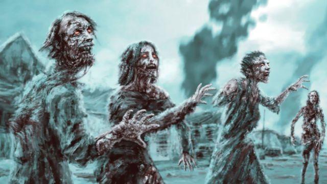 Зомби на фоне деревни