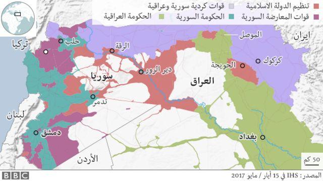 خارطة العراق وسوريا