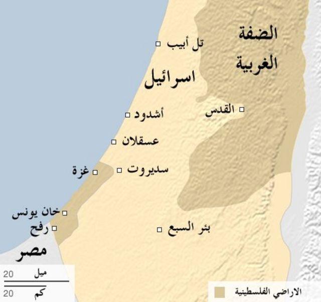 خريطة لفلسطين وإسرائيل