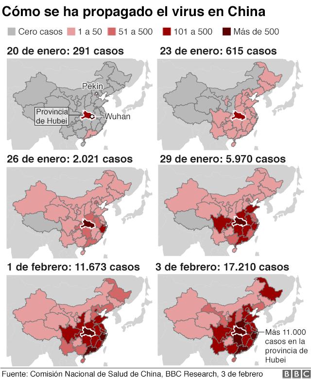 Mapa de la propagación del coronavirus en China