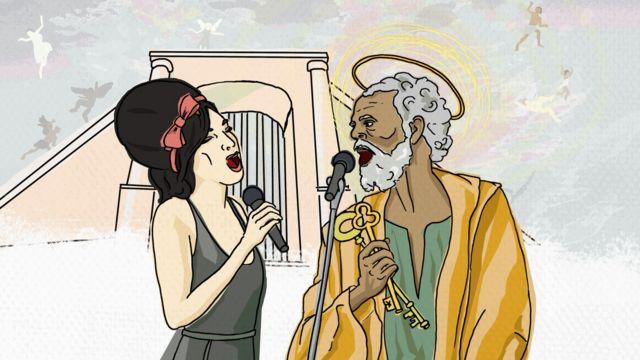 Иллюстрация, изображающая Эми Уайнхаус и святого Петра