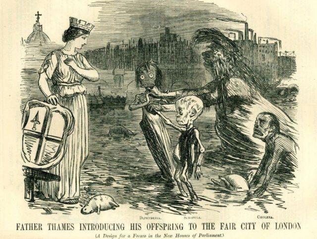 Las revistas satíricas mostraban al padre Támesis como un viejo asqueroso y su descendencia deformada y enferma, cuenta Cook.