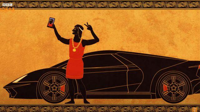 ilustração de um grego antigo tirando uma selfie com um carro esporte