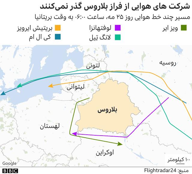 نقشه مسیر خطوط هوایی