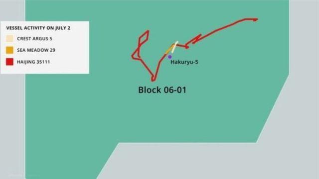 Asia Maritime Transparency Initiative mô tả tàu Trung Quốc Haijing 35111 quấy rối hai tàu Sea Meadow 29 và Crest Argus 5 phục vụ giàn khoan Hakuryu-5