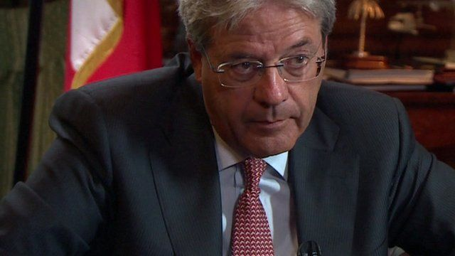 Italy's foreign minister Paolo Gentiloni in a BBC interview
