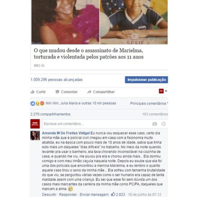 Post de Amanda no Facebook da BBC Brasil