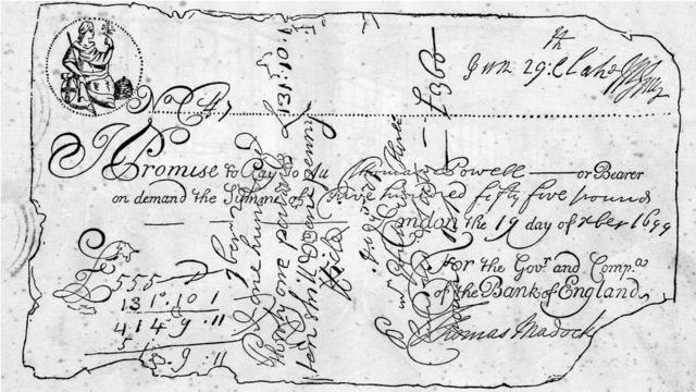 The oldest known bank note, issued by the Bank of England in 1699