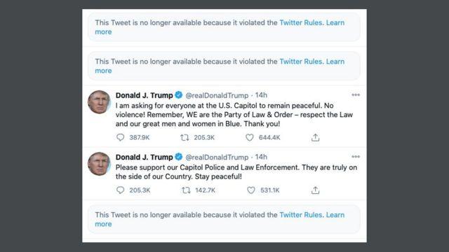 Screenshot von Donald Trumps Twitter-Nachrichten