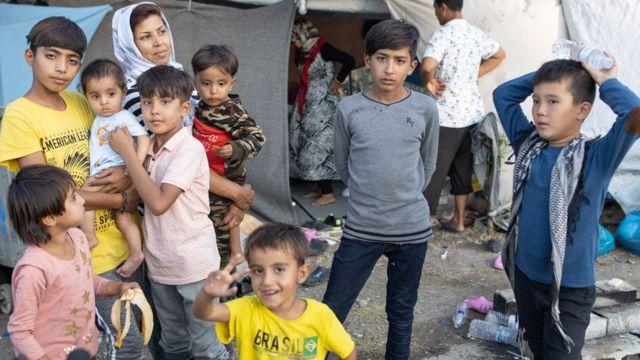لاجئون في مخيم موريا بالقرب من ميتيليني، جزيرة ليسبوس، اليونان في 21 سبتمبر 2020