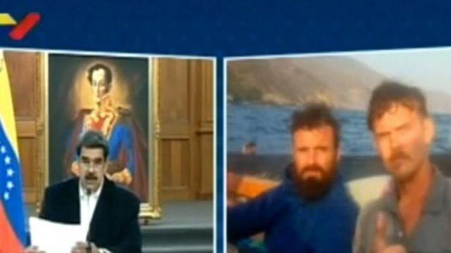 Imagen de Nicolás Maduro a la izquierda y de los estadounidenses detenidos Luke Denman y Airan Berry