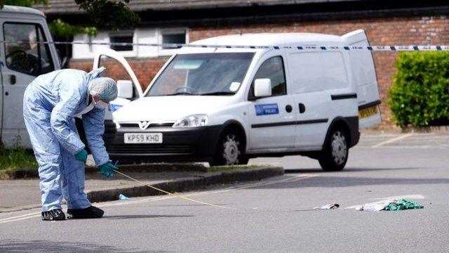 Forensic investigation at stabbing scene