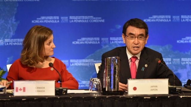 "Chrystia Freeland, Canada""s Minister of Foreign Affairs,(L) listens while Taro Kono, Japan's Foreign Affairs Minister speaks"