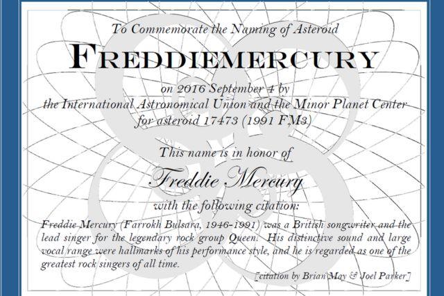 Certificado de bautizo del asteroide Freddiemercury 17473