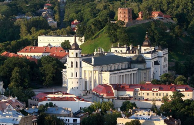 A photo taken from a hot air balloon on August 10, 2012 shows the old town of Vilnius