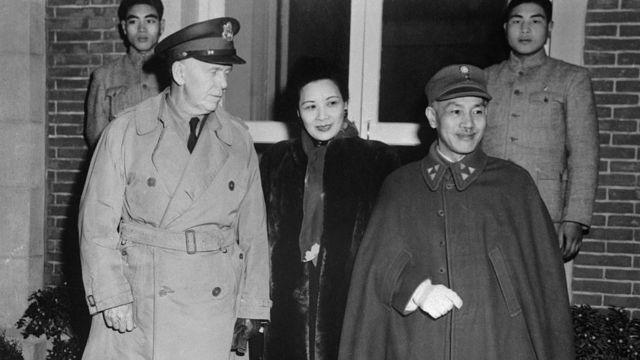 George Marshall gặp vợ chồng Tưởng Giới Thạch ở Nam Kinh năm 1946
