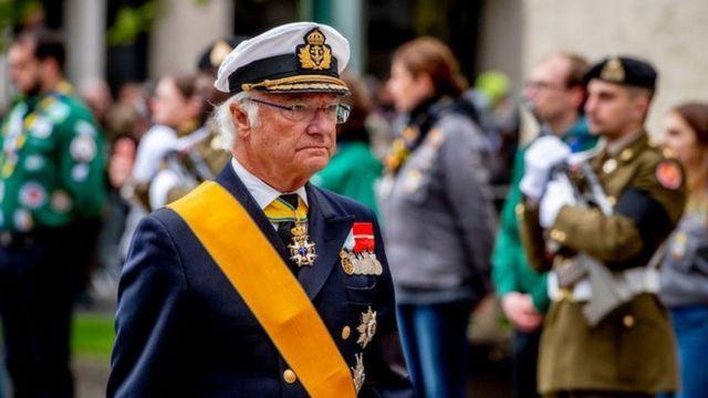 O Rei Carlos Gustavo da Suécia compareceu ao funeral do Grão-Duque Jean de Luxemburgo em 4 de maio de 2019, em Luxemburgo