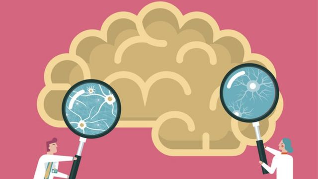 Illustration of a brain with a magnifying glass.