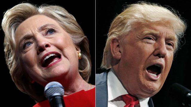 صورة لمرشحي الرئاسة الأمريكية هيلاري كلينتون ودونالد ترامب