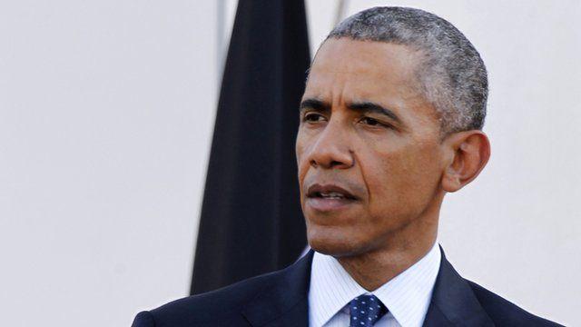 "President Barack Obama delivers his speech during a joint news conference with Kenya""s President Uhuru Kenyatta"
