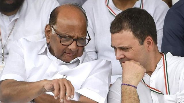 शरद पवार के साथ राहुल गांधी