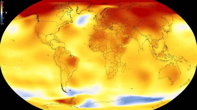 Foto del calentamiento global en el planeta Tierra.