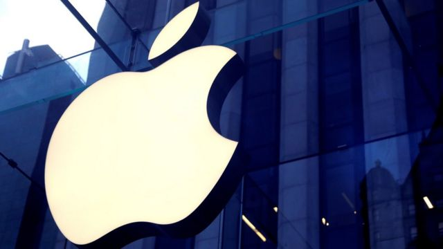 The Apple Inc logo is seen hanging at the entrance to the Apple store on 5th Avenue in Manhattan, New York, U.S., October 16, 2019