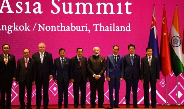(From L to R) Thailand's Prime Minister Prayut Chan-O-Cha, Vietnam's Prime Minister Nguyen Xuan Phuc, Australia's Prime Minister Scott Morrison, Brunei's Sultan Hassanal Bolkiah, Cambodia's Prime Minister Hun Sen, India's Prime Minister Narendra Modi, Indonesia's President Joko Widodo, Japan's Prime Minister Shinzo Abe and Laos' Prime Minister Thongloun Sisoulith pose for a group photo during the 14th East Asia Summit in Bangkok on November 4, 2019