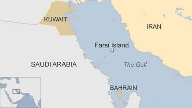 ペルシャ湾内のファルシ島の位置