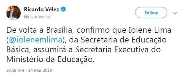 Tuíte de Ricardo Vélez anuncia nome de Iolene