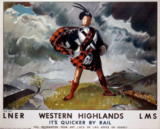 Póster para promover los viajes en tren a Western Highlands con el legendario héroe Rob Roy (1671-1734). Obra de Doris Zinkeisen (1898-1991)