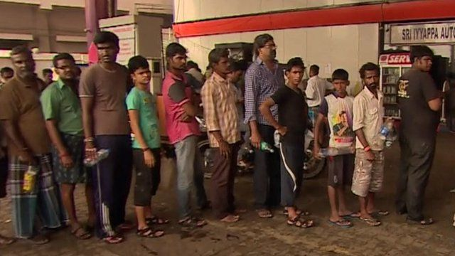 Queue for fuel in Chennai