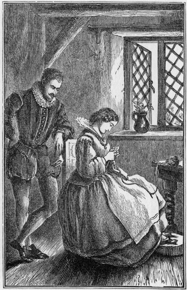 Dibujo de Anton van Leeuwenhoek observando a una mujer