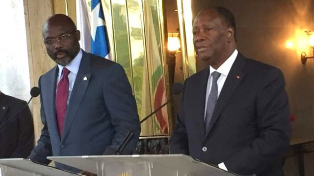 Les deux chefs d'Etat ont discuté de sécurité aux frontières, des réfugiés ivoiriens au Liberia, et de relance économique.