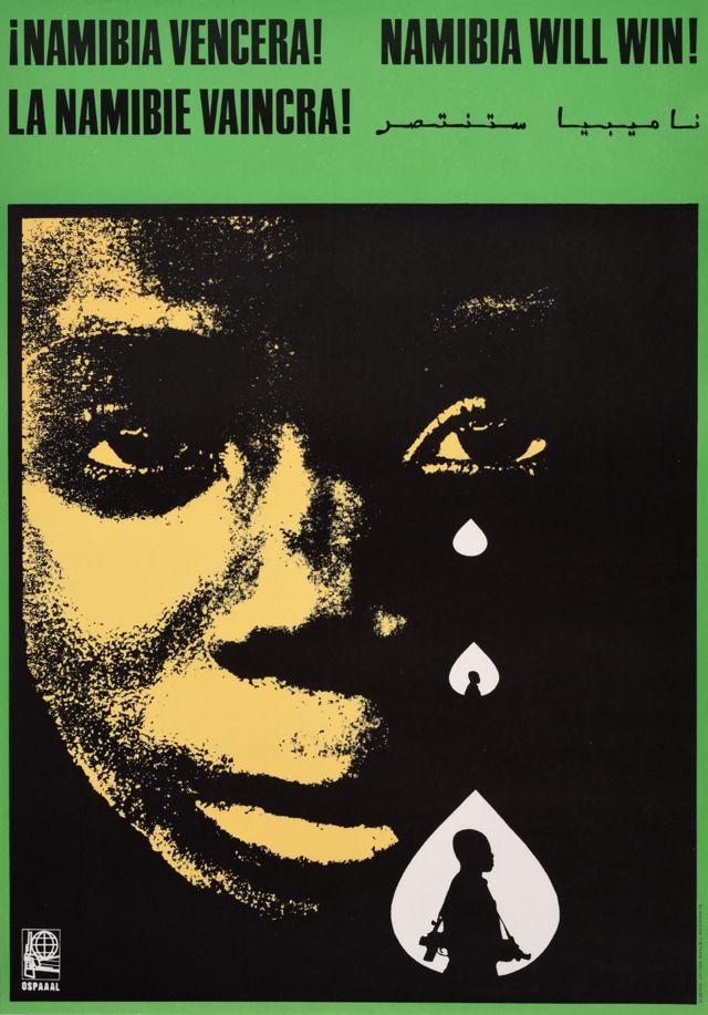 """Une affiche Ospaaal intitulée """"La Namibie vaincra !"""" 1977 montrant l'enfant qui pleure et l'image d'un combattant en une seule larme"""