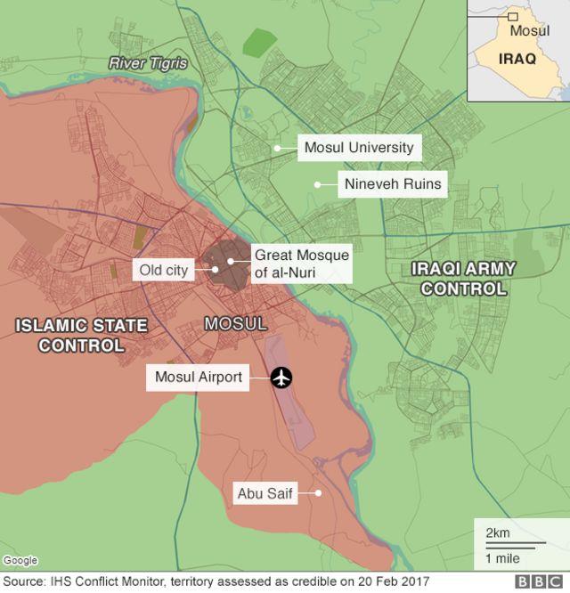 モスルの地図。ISとイラク軍はそれぞれオレンジと緑の地域を支配下に置いている
