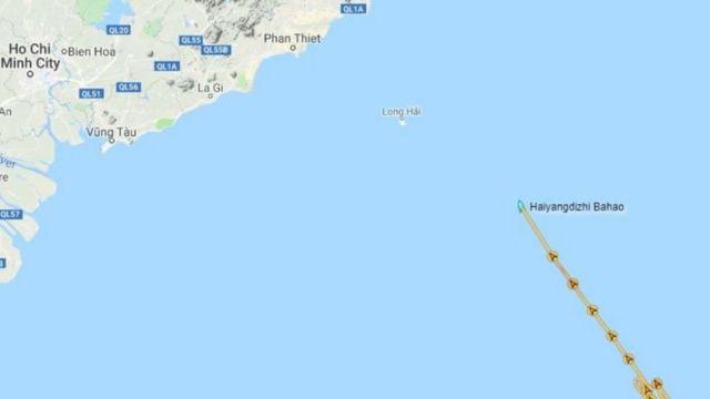 Chuyên gia Ryan Martinson đăng bản đồ vị trí tàu Hải Dương Địa Chất 8 trong buổi sáng ngày 24/8 (giờ Việt Nam)