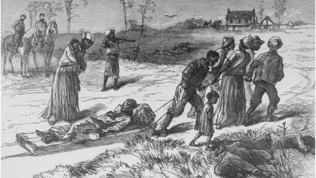 Ilustración del traslado de las víctimas de un ataque racista en Luisiana en 1873.
