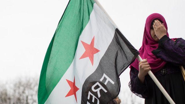 न्यूयॉर्क में सीरिया युद्ध के ख़िलाफ़ प्रदर्शन में शामिल एक लड़की सीरिया का झंडा लिए हुए