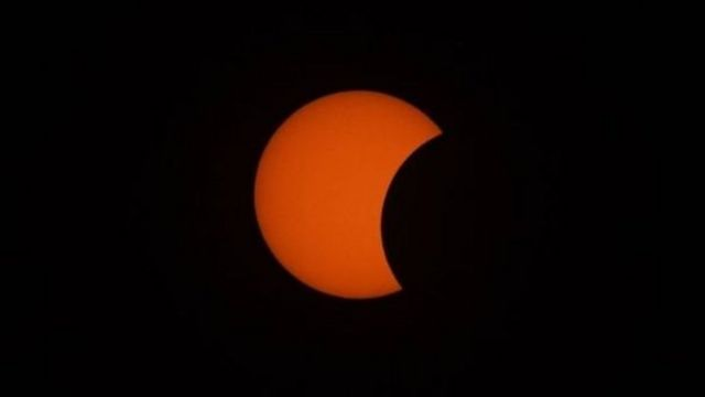 The solar eclipse as seen earlier from central Myanmar