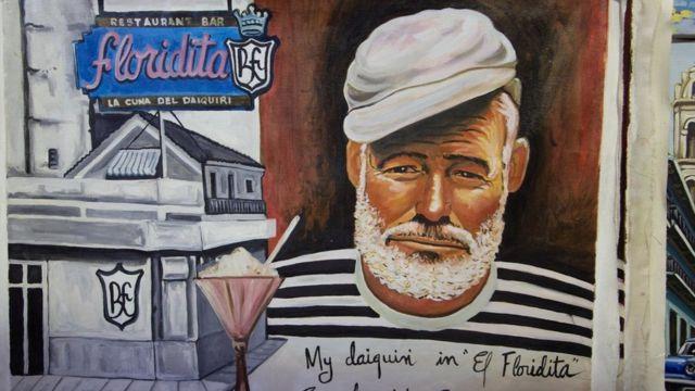 Pintura do rosto de Hemingway em uma muro