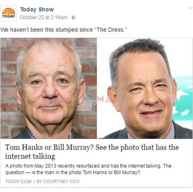 """Today show facebook post reads """"We haven't been this stumped since """"The Dress."""""""""""