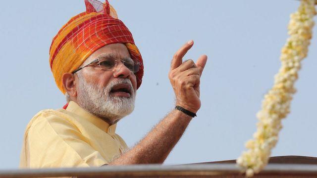 穆迪在新德里庆祝印度独立70周年典礼上(15/8/2017)